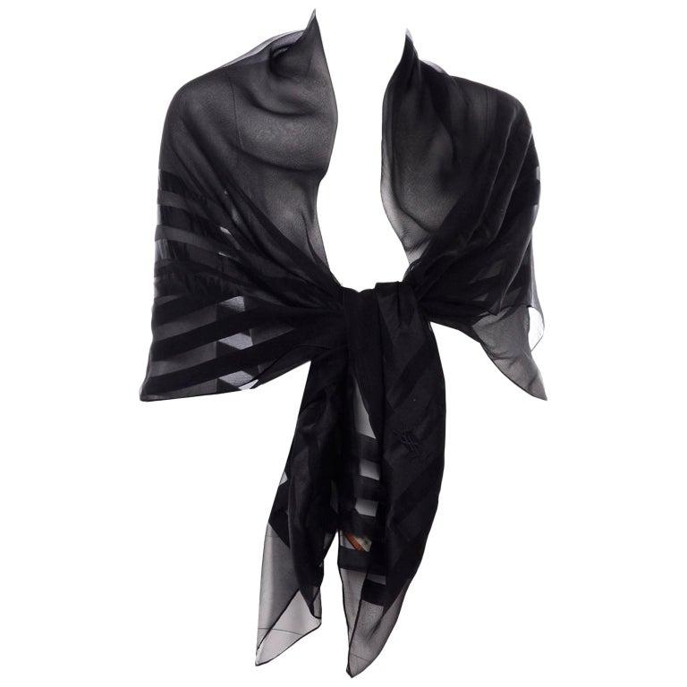 Yves Saint Laurent Foulards Silk Oversized Large Black Sheer Scarf or Shawl Wrap For Sale