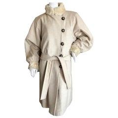 Yves Saint Laurent  Fourrures 1980's Ivory Fur Lined Coat