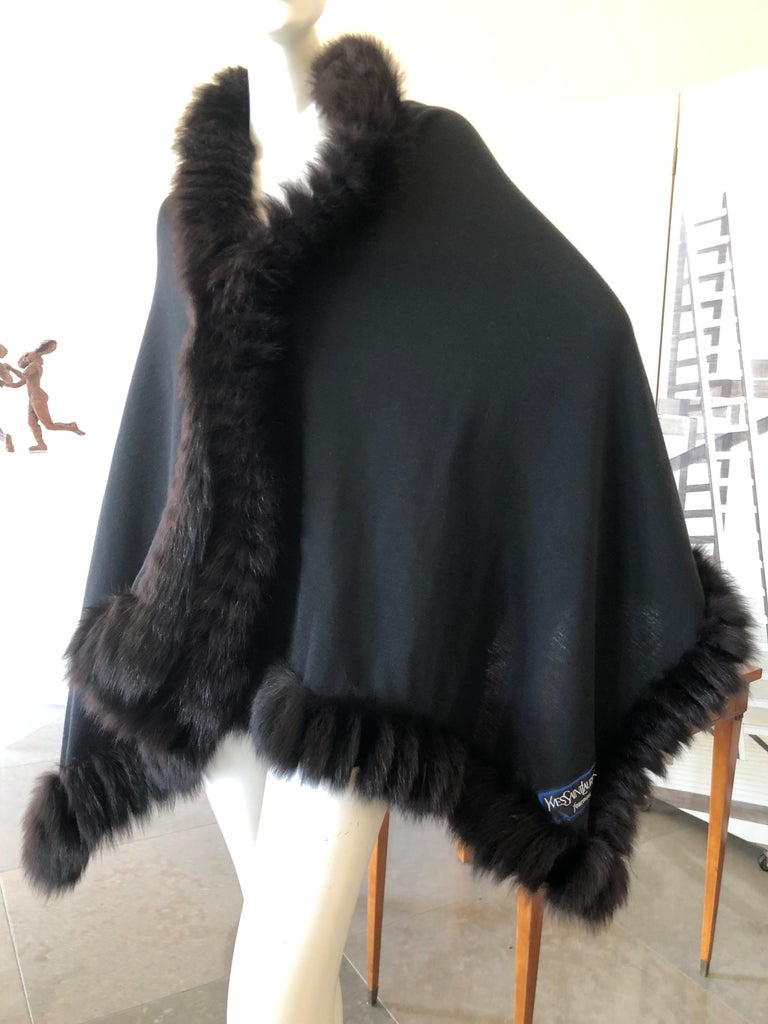 Yves Saint Laurent Fourrures Luxe Vintage Black Jersey Shawl w Fox Fur Trim . Feels like a fine wool jersey  Excellent pre owned condition 70