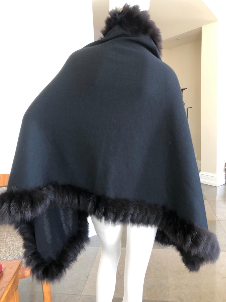 Yves Saint Laurent Fourrures Luxe Vintage Black Jersey Shawl w Fox Fur Trim  In Excellent Condition For Sale In San Francisco, CA