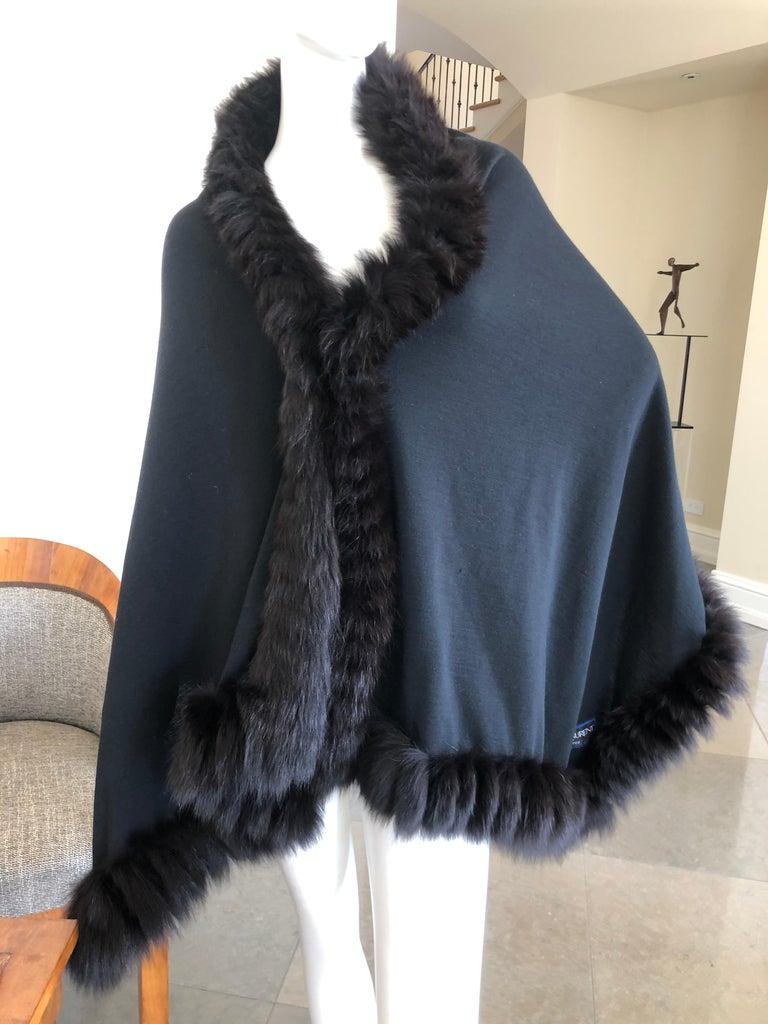 Yves Saint Laurent Fourrures Luxe Vintage Black Jersey Shawl w Fox Fur Trim  For Sale 2