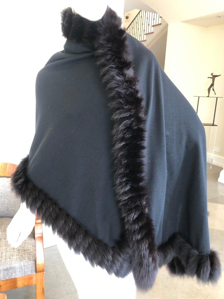 Yves Saint Laurent Fourrures Luxe Vintage Black Jersey Shawl w Fox Fur Trim  For Sale 3