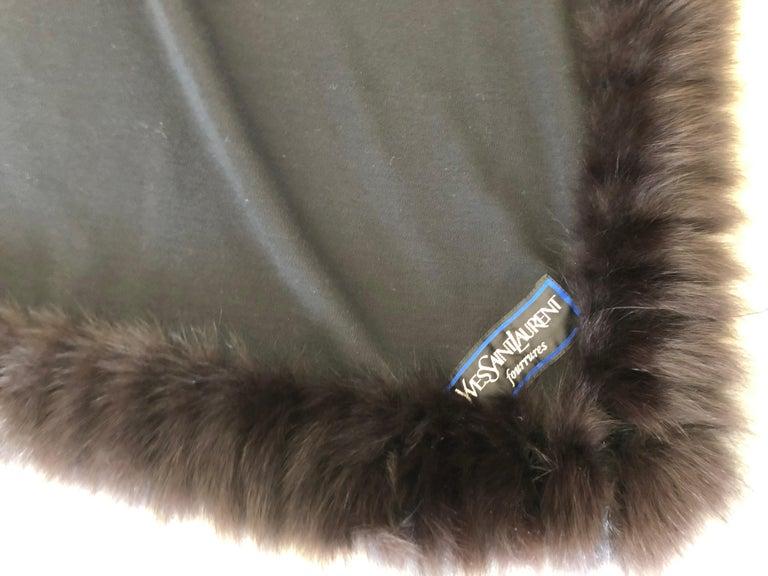 Yves Saint Laurent Fourrures Luxe Vintage Black Jersey Shawl w Fox Fur Trim  For Sale 5
