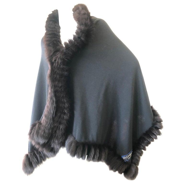 Yves Saint Laurent Fourrures Luxe Vintage Black Jersey Shawl w Fox Fur Trim  For Sale