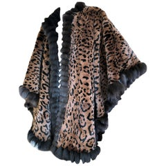 Yves Saint Laurent Fourrures Reversible Sable Trim Leopard Pattern Fur Cape