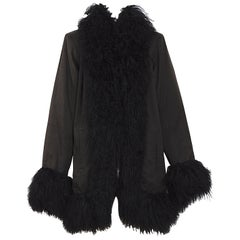 Yves Saint Laurent fourrures vintage black Mongolian lamb fur trimmed coat