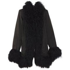 Yves Saint Laurent fourrures vintage black Mongolian lamb fur trimmed coat