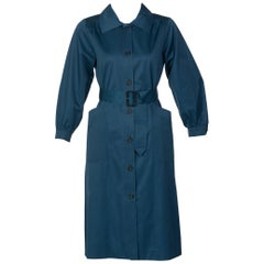 Yves Saint Laurent French Blue Belted Cotton Trench Coat YSL, 1970s