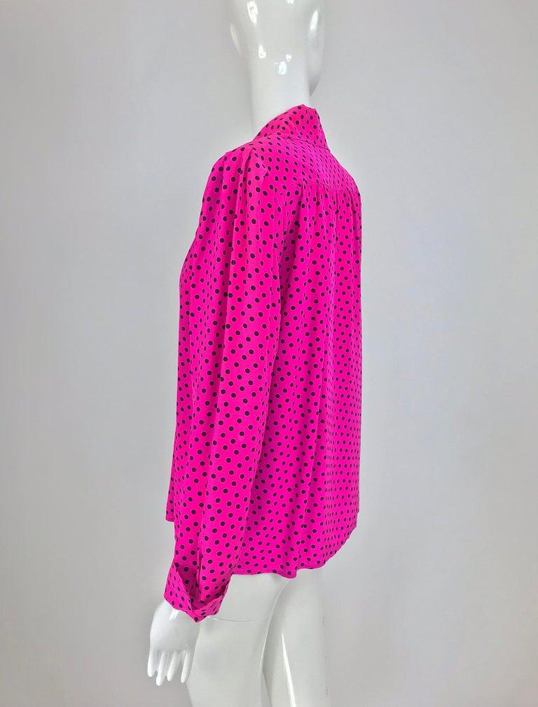 97bbe011da0e5 Yves Saint Laurent Fuchsia Polka Dot Silk Blouse 1990s For Sale at ...