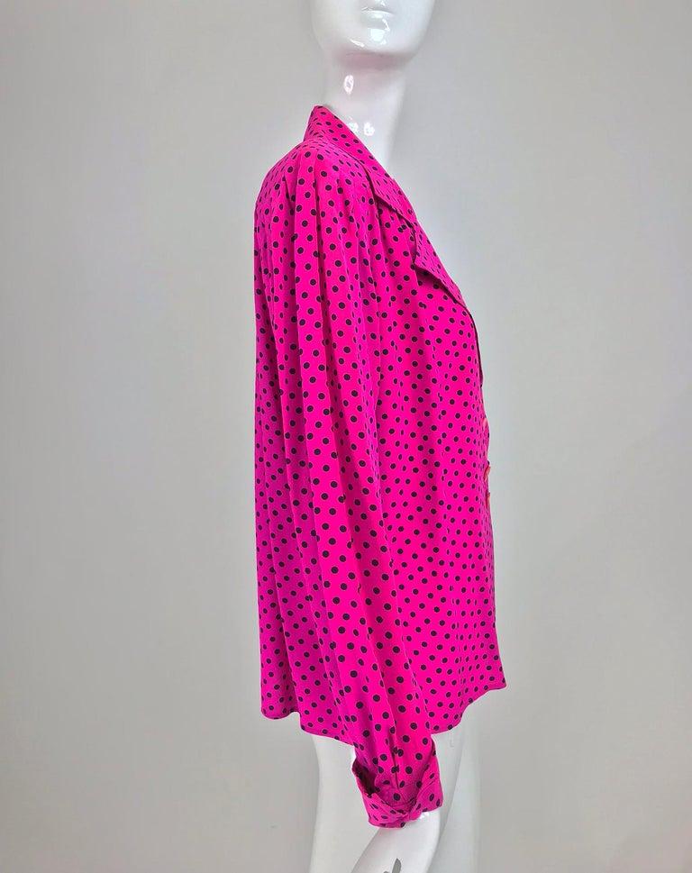6ff1d7123f231 Women s Yves Saint Laurent Fuchsia Polka Dot Silk Blouse 1990s For Sale