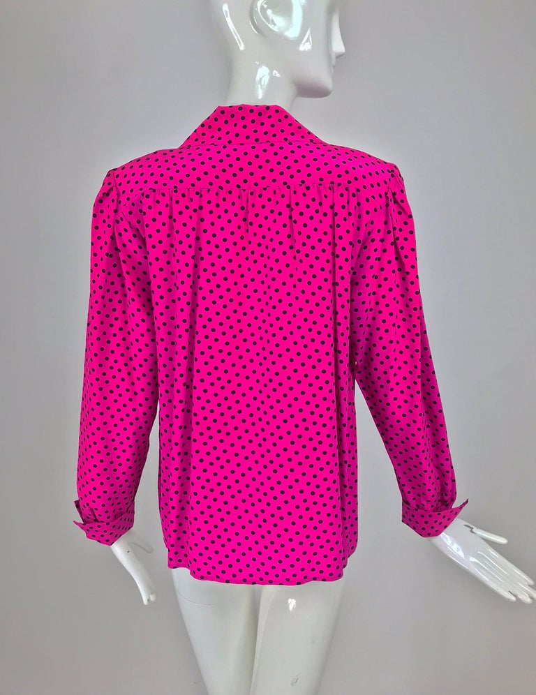 97bbe011da0e5 Yves Saint Laurent Fuchsia Polka Dot Silk Blouse 1990s For Sale at ...