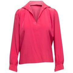 Yves Saint Laurent Fuchsia Silk Long Sleeve Top
