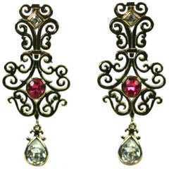 Yves Saint Laurent Gilt Fretwork Earrings