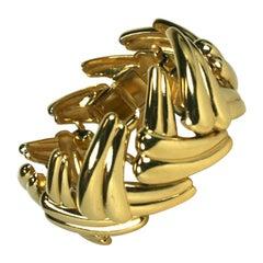 Yves Saint Laurent Gilt Leaf Bracelet