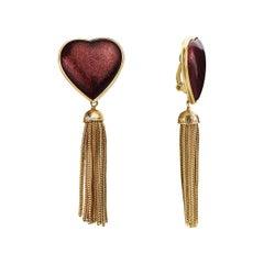 Yves Saint Laurent Gilt-Metal Red Enamel Heart Fringe Dangle Drop Ear Clips