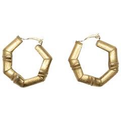 Yves Saint Laurent Gold Bamboo Clip-On Hoop Earrings