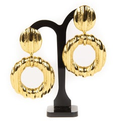 Yves Saint Laurent Gold Clip-on Hoop Earrings