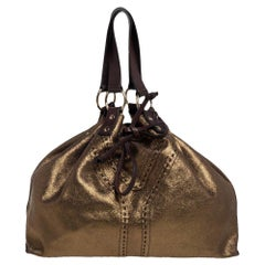 Yves Saint Laurent Gold/Dark Brown Leather Reversible Double Sac Y Tote