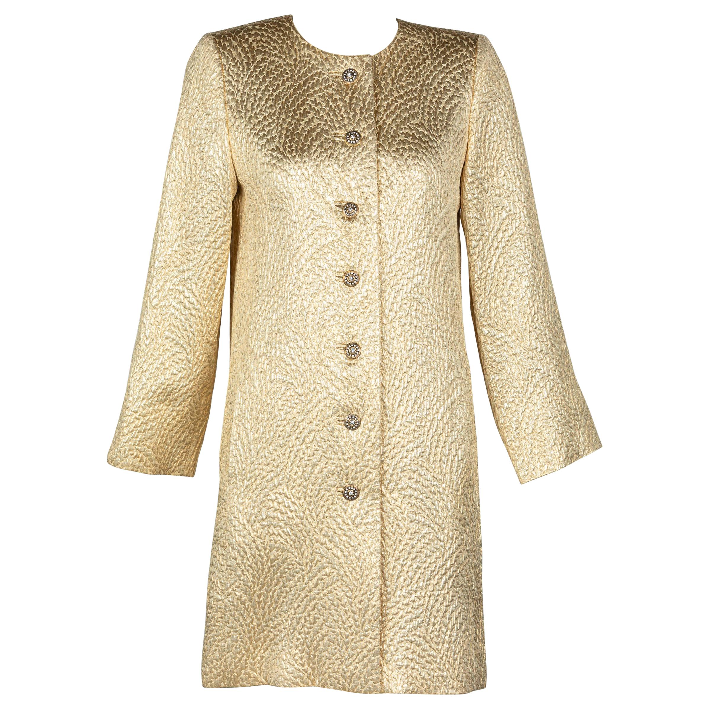 Yves Saint Laurent Gold Evening Coat w/ Jeweled Buttons YSL, 1990s