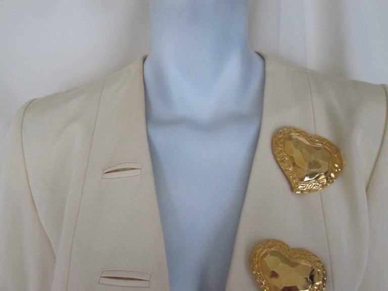 Vintage YSL jacket with 4 gold color heart buttons no pockets Its in very good vintage condition Size is france 40 and US 8
