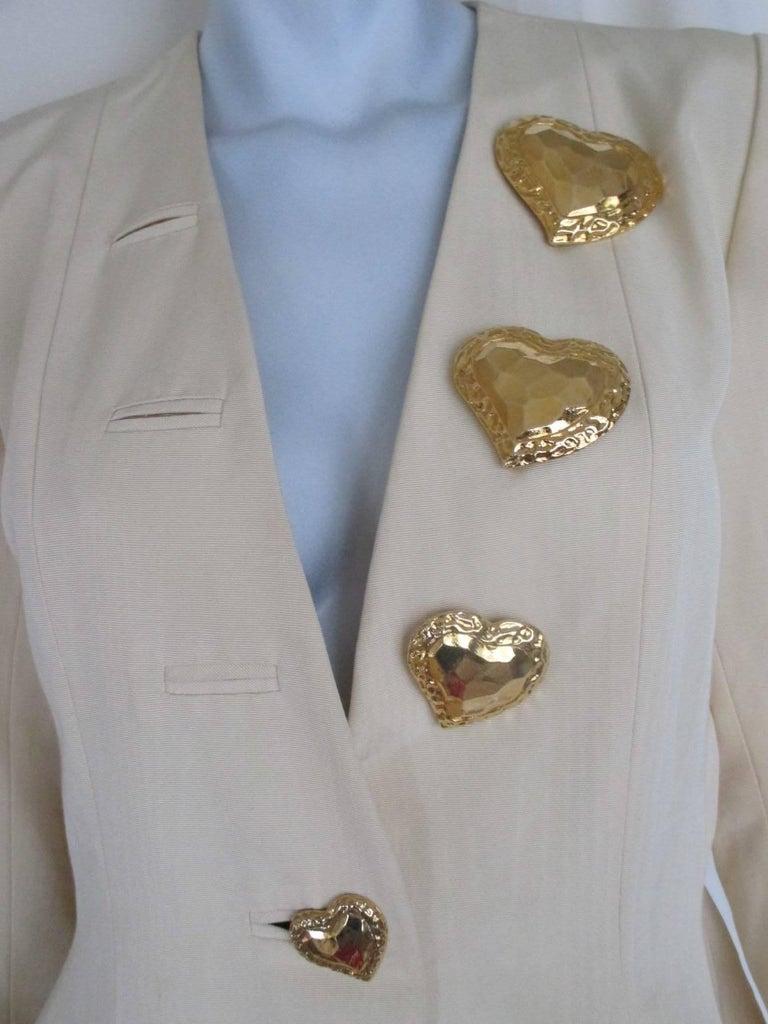 Women's yves saint laurent gold heart buttons jacket For Sale