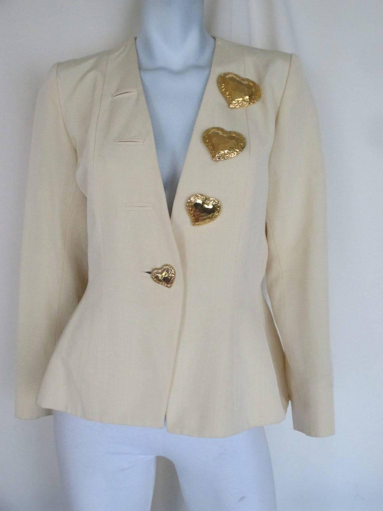 yves saint laurent gold heart buttons jacket For Sale 1