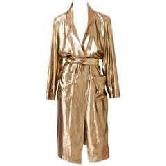 Yves Saint Laurent Gold Lame Belted Coat/Dress