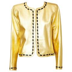 Yves Saint Laurent Gold Leather Cardigan
