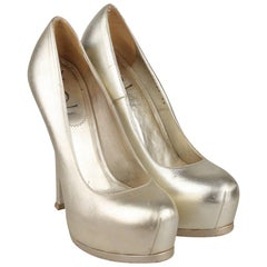 YVES SAINT LAURENT Gold Metal Leather Platform Pumps Heels Shoes Size 39