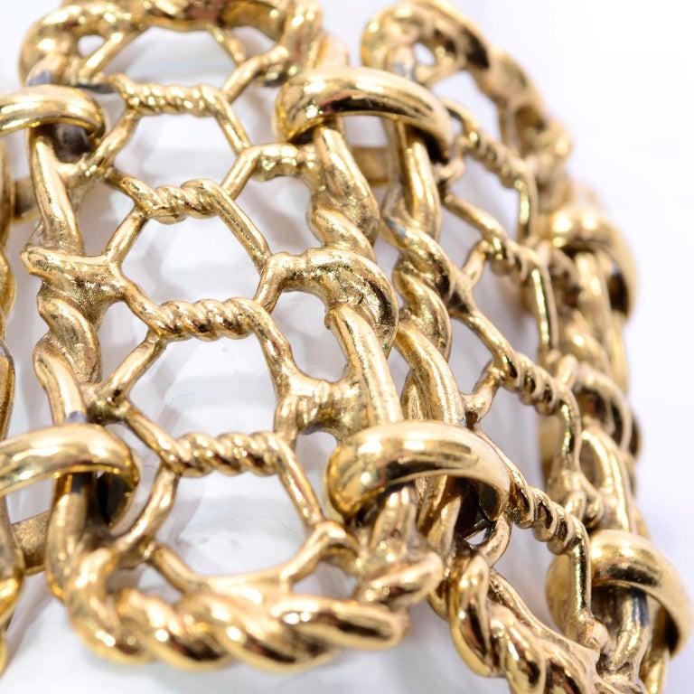 Yves Saint Laurent Gold Plated Wide Chain Link Vintage Bracelet w Bar Clasp For Sale 6