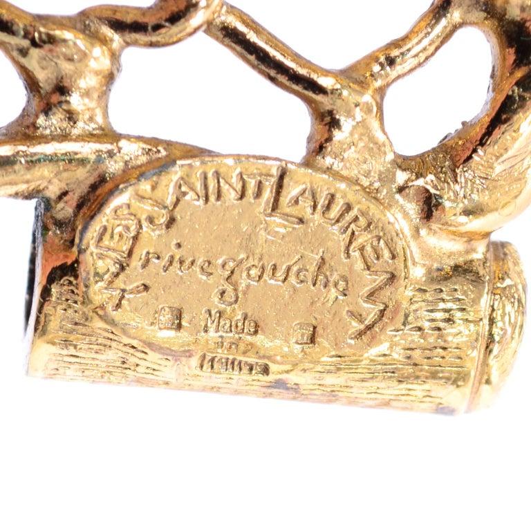 Yves Saint Laurent Gold Plated Wide Chain Link Vintage Bracelet w Bar Clasp For Sale 7