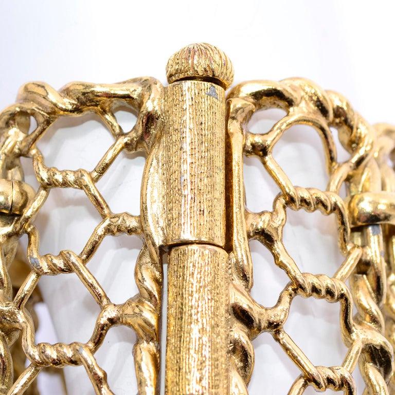 Yves Saint Laurent Gold Plated Wide Chain Link Vintage Bracelet w Bar Clasp For Sale 8