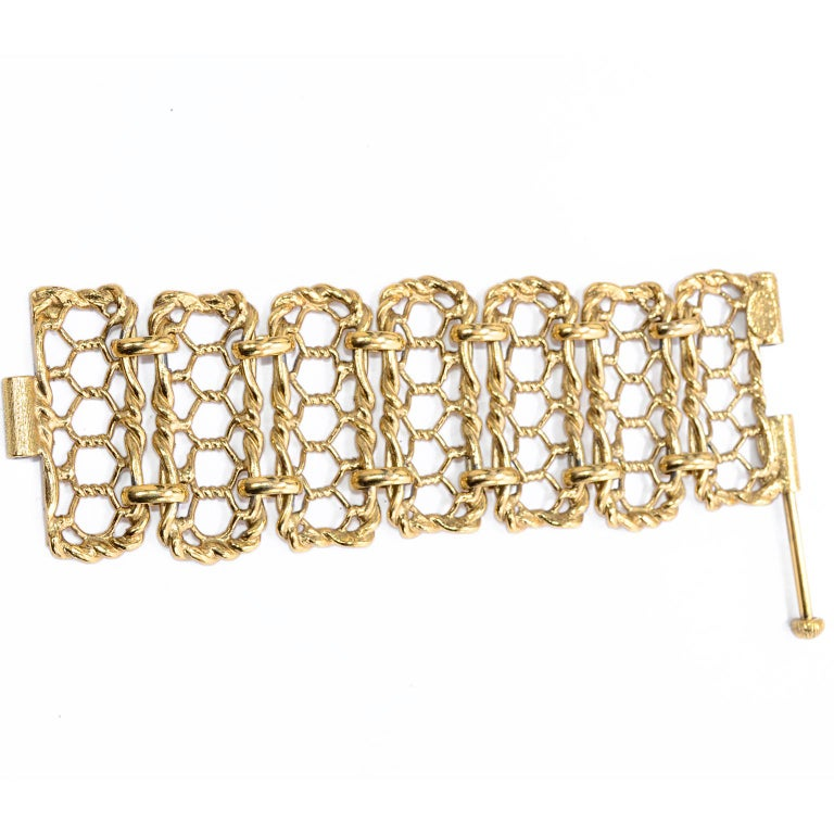 Yves Saint Laurent Gold Plated Wide Chain Link Vintage Bracelet w Bar Clasp For Sale 1