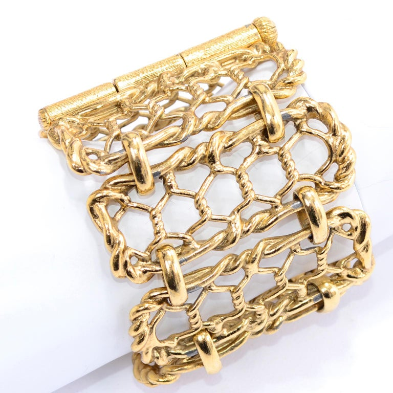 Yves Saint Laurent Gold Plated Wide Chain Link Vintage Bracelet w Bar Clasp For Sale 2