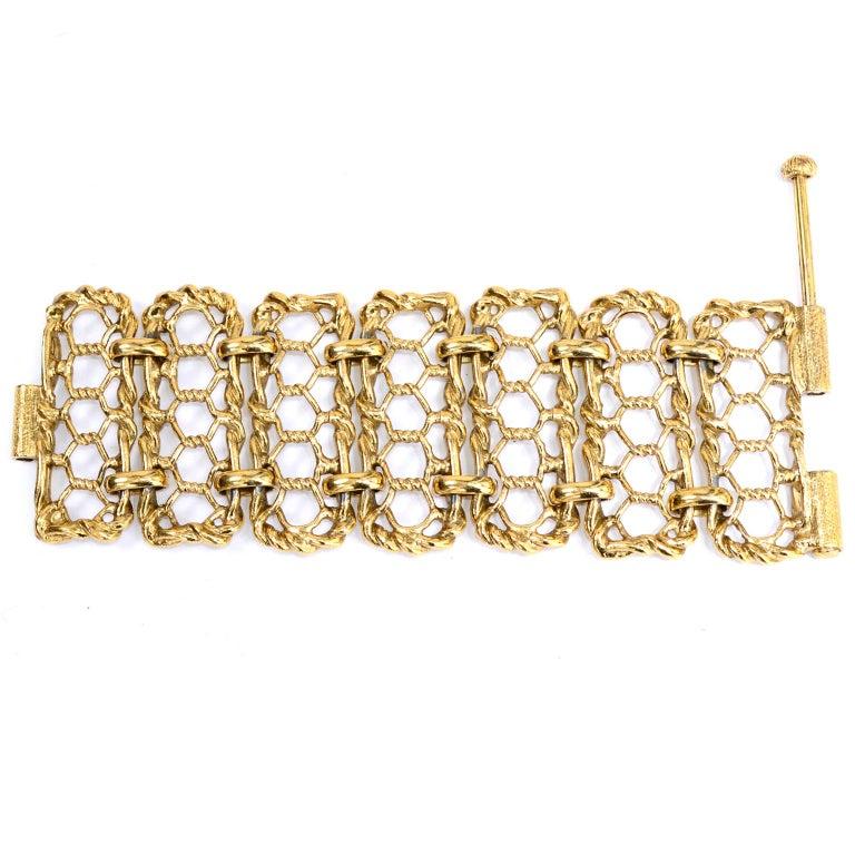 Yves Saint Laurent Gold Plated Wide Chain Link Vintage Bracelet w Bar Clasp For Sale 3