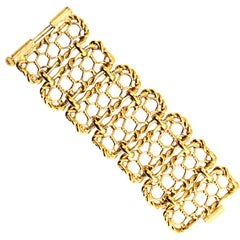 Yves Saint Laurent Gold Plated Wide Chain Link Vintage Bracelet w Bar Clasp