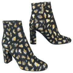 Yves Saint Laurent Gold & Silver Lamé Black Leopard Print Boots Sz 37 1/2