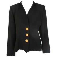 Yves Saint Laurent Gold Sun Buttons Black Jacket