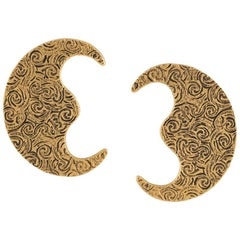 Yves Saint Laurent Gold Tone Large Moon Earrings, 1980s