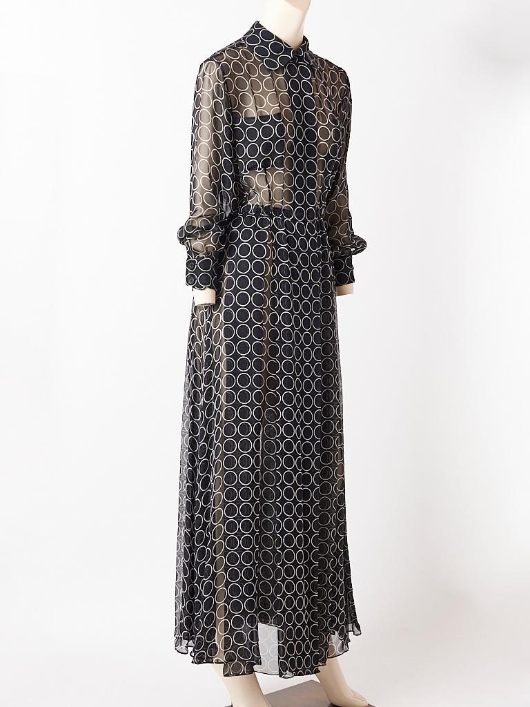 Black Yves Saint Laurent Graphic Print Chiffon Maxi Dress For Sale