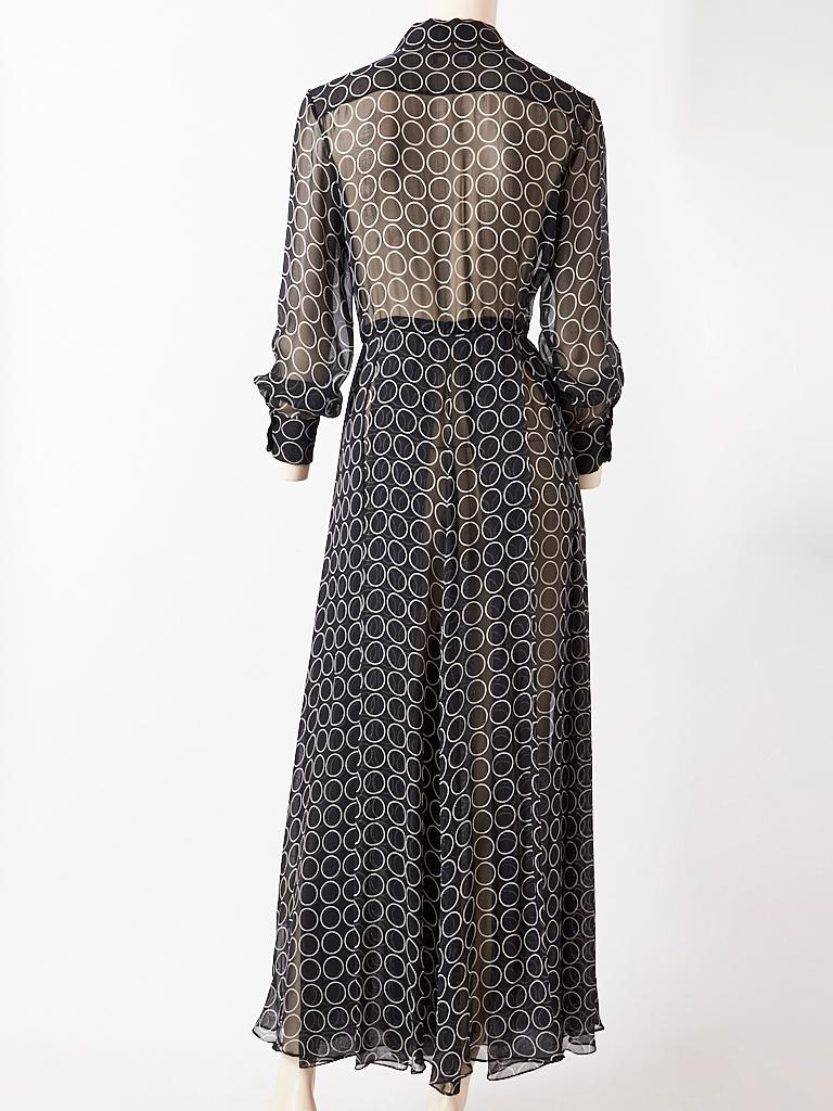 Yves Saint Laurent Graphic Print Chiffon Maxi Dress In Good Condition For Sale In New York, NY