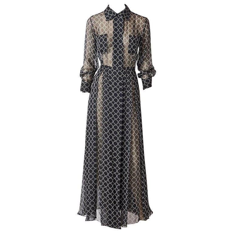 Yves Saint Laurent Graphic Print Chiffon Maxi Dress For Sale