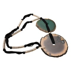 Yves Saint Laurent Green and Brown Agate Necklace