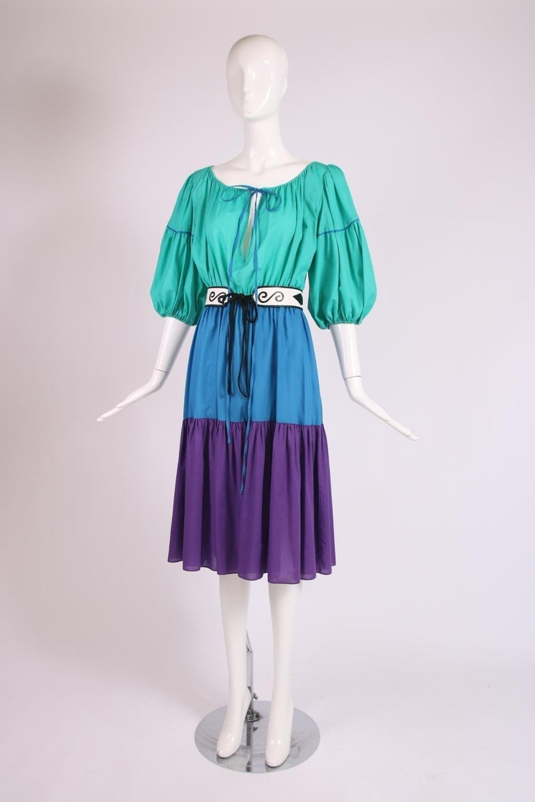 Yves Saint Laurent Green, Blue & Purple Cotton Colorblock Day Dress In Excellent Condition In Los Angeles, CA
