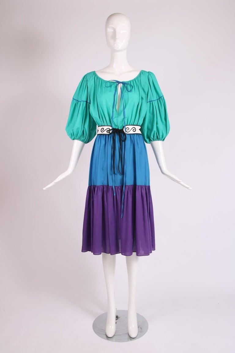 Women's Yves Saint Laurent Green, Blue & Purple Cotton Colorblock Day Dress