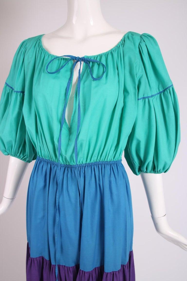 Yves Saint Laurent Green, Blue & Purple Cotton Colorblock Day Dress 1