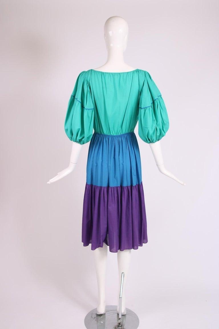 Yves Saint Laurent Green, Blue & Purple Cotton Colorblock Day Dress 2