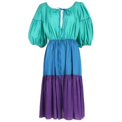 Yves Saint Laurent Green, Blue & Purple Cotton Colorblock Day Dress