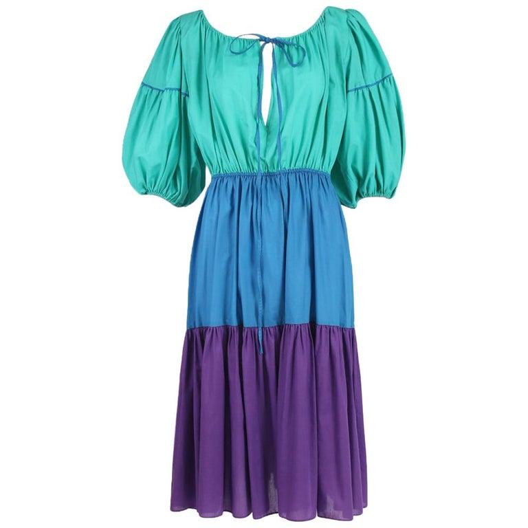 Yves Saint Laurent Green, Blue & Purple Cotton Colorblock Day Dress