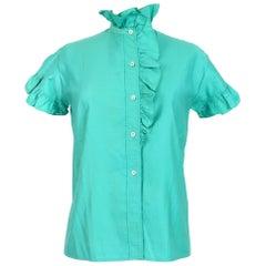 Yves Saint Laurent Green Cotton High Collar Rouge Summer Shirt